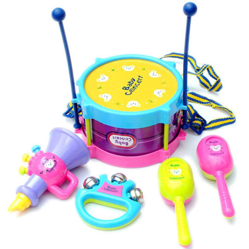5pcs Kids Baby Roll Drum Musical Instruments Band Kit Early Childhood Development/ toy for Children Cherryb