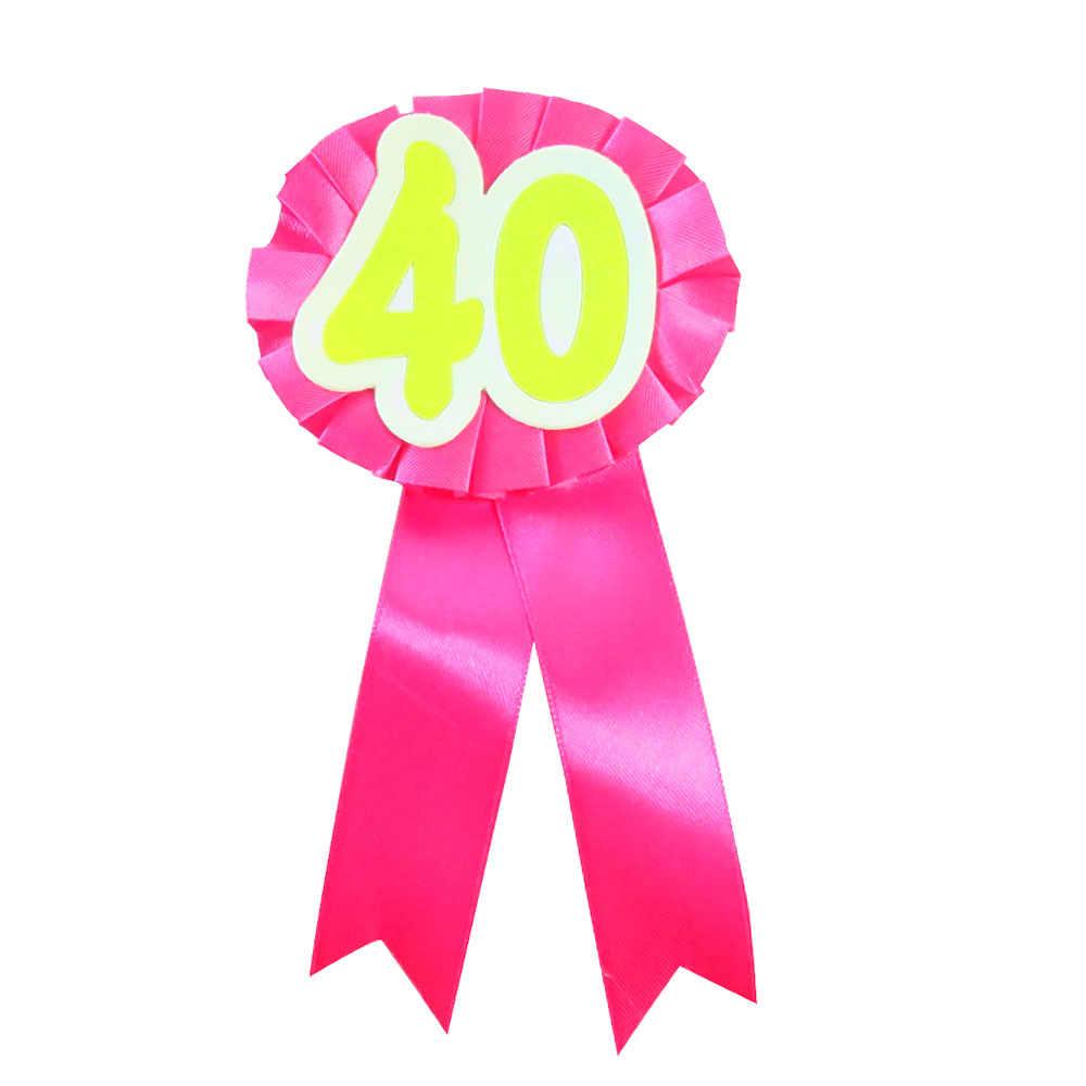 19 Цвета 40 брошь лента цветок знак взрослых женщин Человек на день рождения ускорение кнопку весело с днем рождения вечерние события прикольные подарки