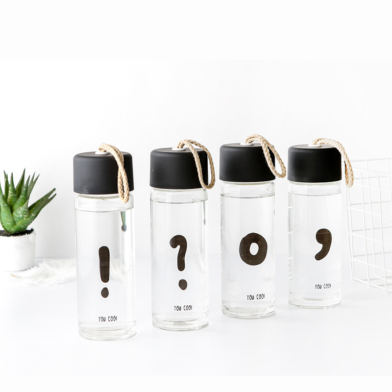 Creative Travel Outdoor Water Bottles Portable Dog Cat: Creative Punctuation Mark Glass Water Bottle Transparent