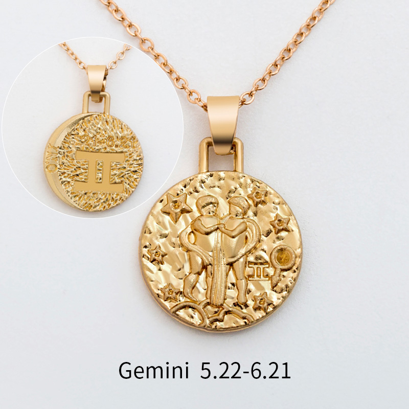 12 Constellation Jewelry Necklace Gold Virgo Libra Scorpio Sagittarius Capricorn Aquarius Zodiac Necklace Circle Pendant bijoux 23