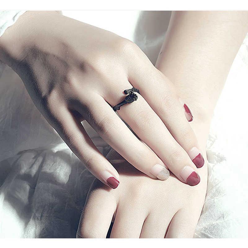 นวนิยายออกแบบปืนสีดำชุบ Rose แหวนดอกไม้สำหรับผู้หญิงเครื่องประดับปรับแหวนวงกลมผู้หญิง Christmas PARTY ของขวัญ
