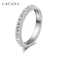 CACANA Titanium Stainless Steel Rings For Women Small CZ Surround Fashion Jewelry Wholesale NO.R19(China)