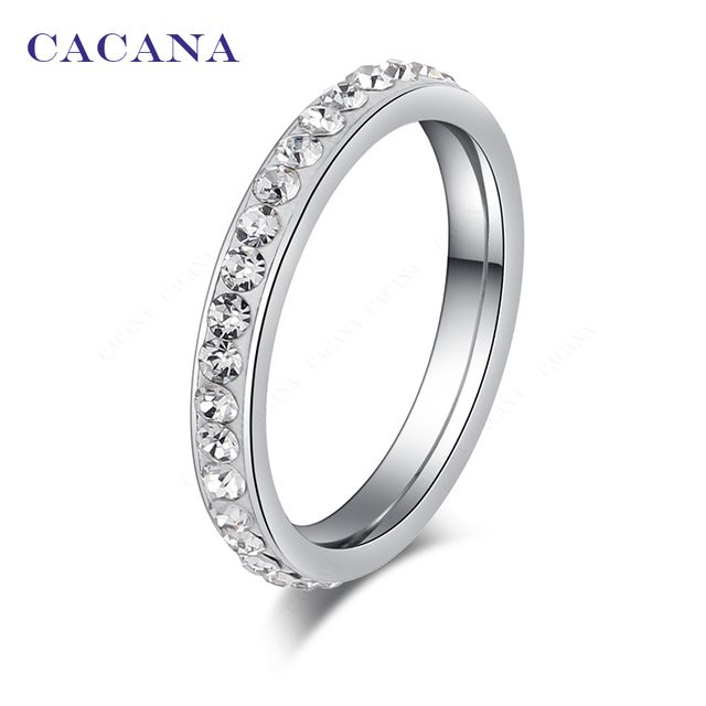 CACANA Titanium Stainless Steel Rings For Women Small CZ Surround Fashion Jewelr