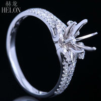 6mm Round Cut 0 25ct Natural Semi Mount Ring Solid 14K White Gold Engagement Wedding Ring