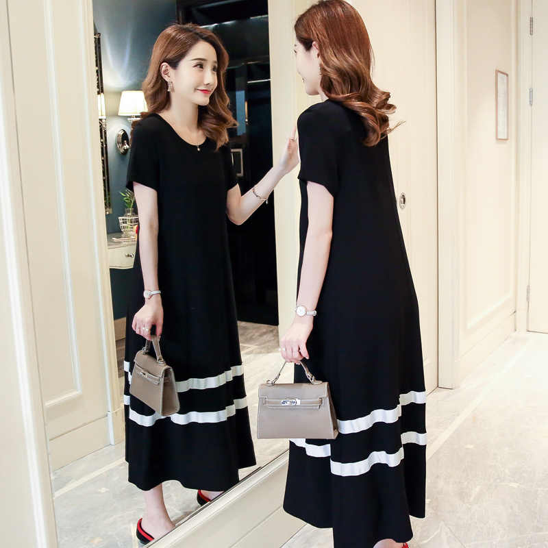 86db3f3c76143 ... Pengpious 2018 pregnant women summer dress Korean style long loose  short sleeve black patchwork white mid ...