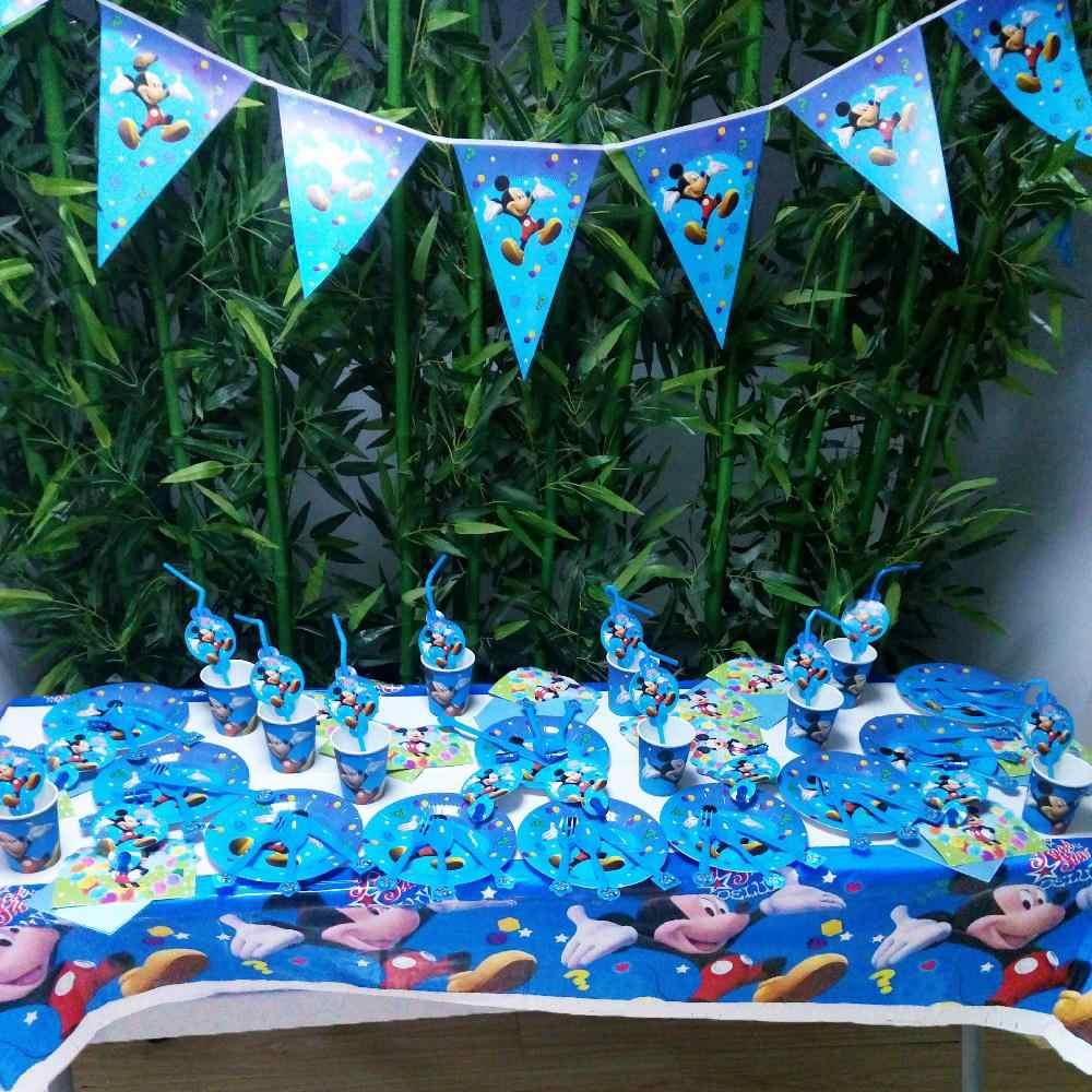 Mickey Mouse Party supplies ฝักบัวอาบน้ำเด็กโปรดปรานผ้าปูโต๊ะถ้วยผ้ากันเปื้อน Plates มีด Forks ช้อนวันเกิด Party ตกแต่ง