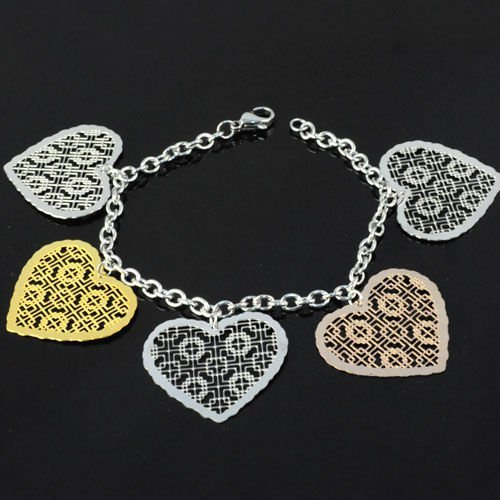 Wedding Giveaways Party Jewelry Stainless Steel Bracelet With chinese happy Heart Pendant Charm , Free Shipping, BR-1211