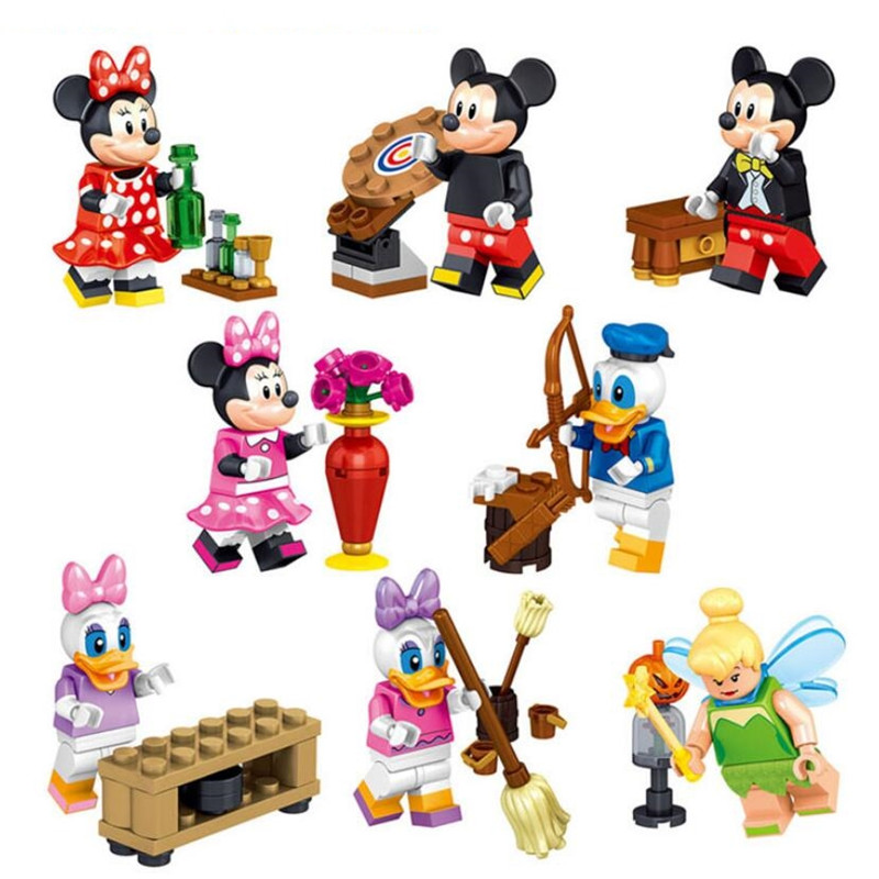 цена на Cartoon Minnie Michael Figure 8pcs/lot Donald Duck Daisy Tinker Bell Model DIY Gifts Building Blocks Toys For Children