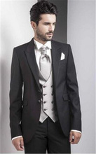 (Jacket+vest+Pants) White Men Suit With Black Shawl Lapel Groom Tuxedos Wedding Blazer Latest Coat Pant Designs