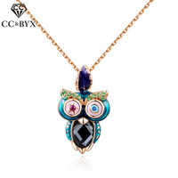 CC Jewelry Fashion Rose Gold Colorful Owl Genuine Austrian Crystal Pendant Necklace For Women Engagement Necklaces
