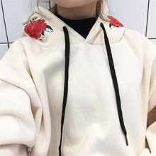 M students fashion new rose hooded printing high-end Korean version of the wild college hoodie