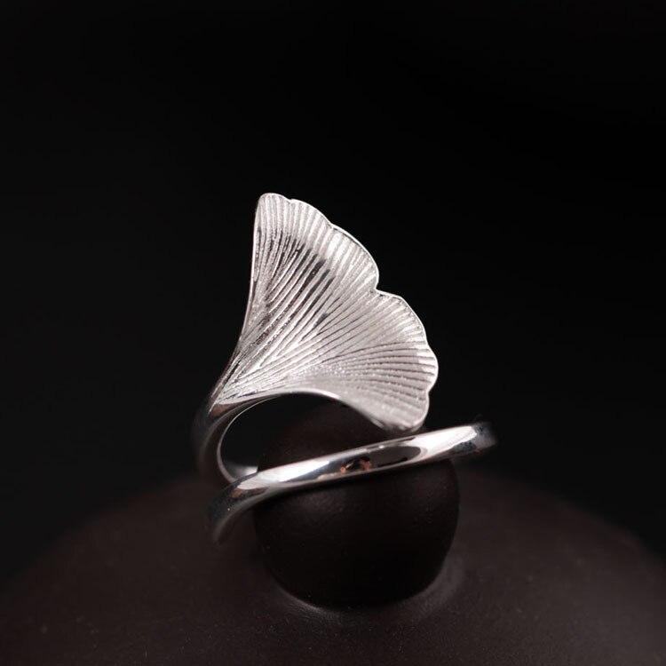 Flyleaf 925 Sterling-argent-bijoux Ginkgo feuilles anneaux pour femmes de haute qualité mode dame accessoires Bague Femme