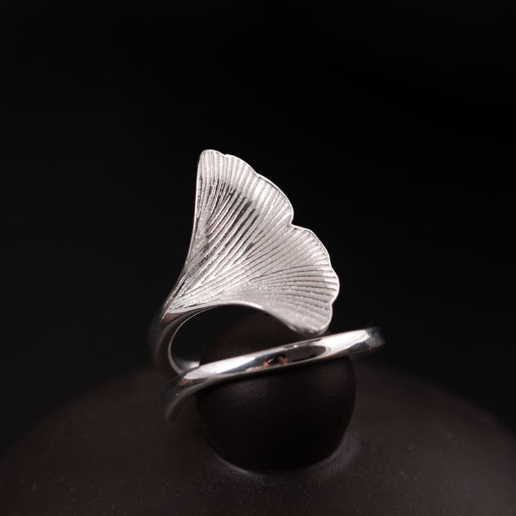 Flyleaf 925 Sterling-silver-jewelry-Ginkgo Leaves gredzeni sievietēm High Quality Fashion Lady aksesuāri Bague Femme
