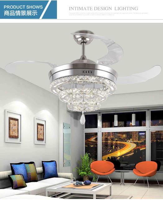 . LED Crystal stealth ceiling fan lights living room minimalist restaurant  modern fan light crystal lighting 42inch