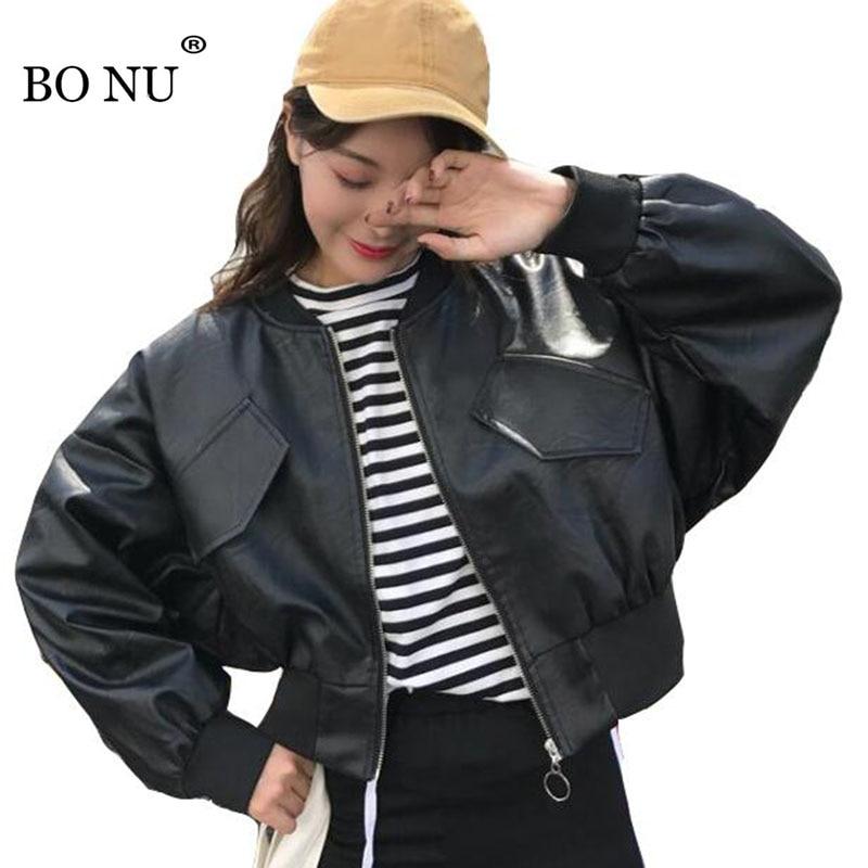 BONU Autumn Spring Black Short Leather Jacket For Women Boy Friend Bat Sleeve PU Jacket Harajuku Coat Female Hip Hop Basic Coats