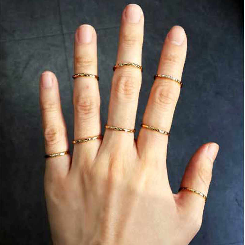 The latest fashion Korean star simple convex surface gold Color ring jewelry factory direct 1 Wholesale