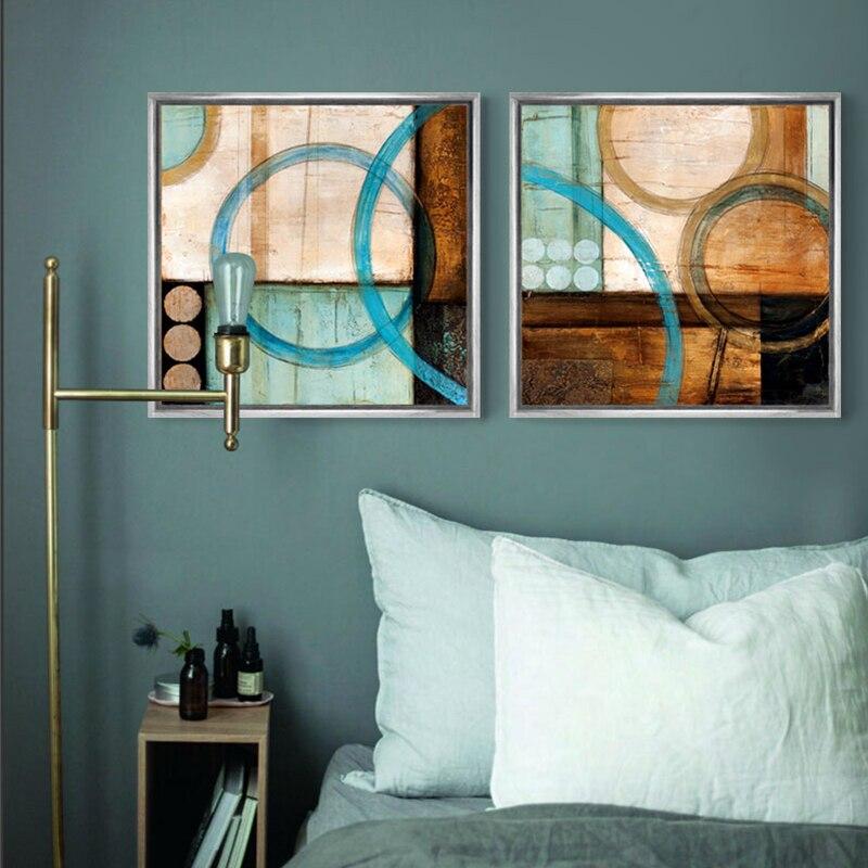 Plava i smeđa krugovi moderne apstraktno slikarstvo platno ispisuje - Kućni dekor - Foto 4