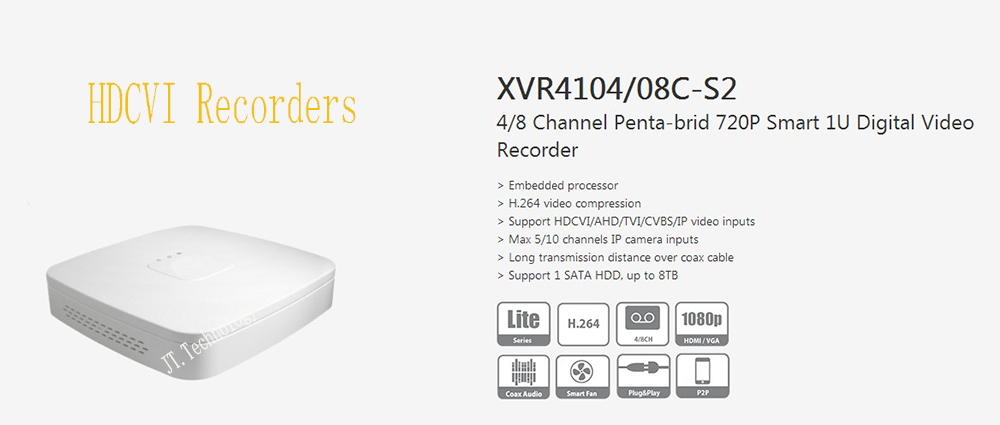 Free Shipping DAHUA NEW Product 4/8 Channel Penta-brid 720P Smart 1U Digital Video Recorder without Logo XVR4104C-S2/XVR4108C-S2 xvr4108c s2 cctv xvr new product 8channel penta brid 720p smart 1u digital video recorder without