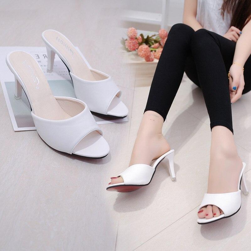 HTB106OibtjvK1RjSspiq6AEqXXat HOKSVZY Women Slipper 2019 Slippers women's Fashion Wear Stiletto Fish Mouth Stiletto Sandals Slippers women's Sandals FZZ-2902