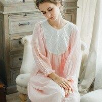 Princess Nightgown Autumn Winter Palace Ladies Nightdress Vintage Lace Korean Nightwear Cotton Long Sleeved Night Gown Sleepwear