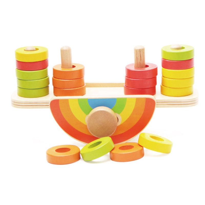 Wooden Rainbow Balance Blocks Montessori Toys DIY Colorful Building Blocks Beads Seesaw Early Education Brick  Funny Gadgets dfc seesaw se 01
