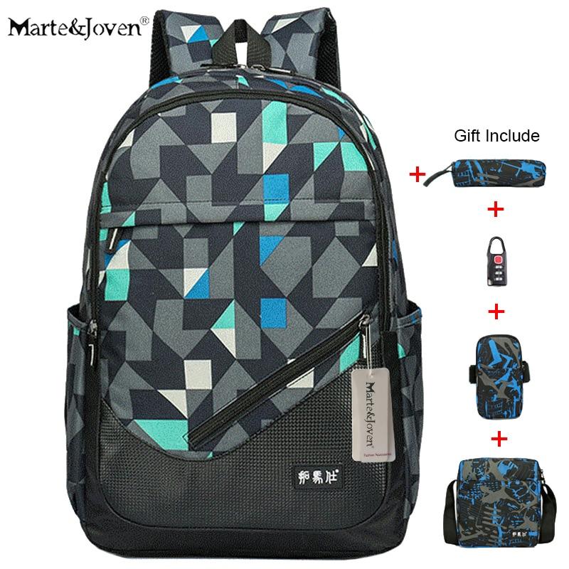 [Marte&Joven] High Quality 15/16 Waterproof Black Laptop Backpack Men Best Carry On Travel Rucksack High School Backpack Bag