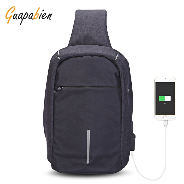 Guapabien Sling Shoulder Chest Bag for Men with USB Charging Port Headphone  Hole 61d32bd377fe2