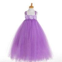Cumpleaños Bola de La Flor Vestidos para Niñas de Verano niño Lindo Bebé Niñas Princesa Party Tutu Vestido de Tul Boda de la Lavanda Púrpura