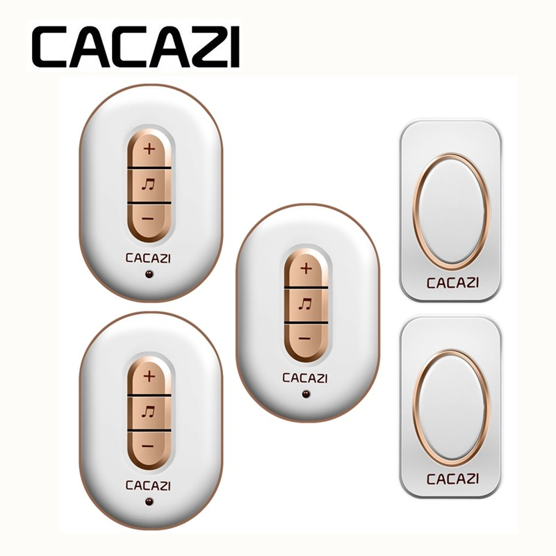 CACAZI Wireless Waterproof Doorbell Smart LED Sensor US EU UK Plug 280m Remote Battery Button Household Call Ring Bell 48 Songs цены