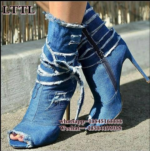 top selling blue destroyed denim mid calf boots lace up bow tie wrap ankle booties sexy open toe stiletto heel shoes fashion