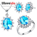 Uloveido Bague En or Mariage Jewelry Sets Jewelry Love New Year Gifts for Women Valentine's Day Mystic Bridal Jewelry Sets T466