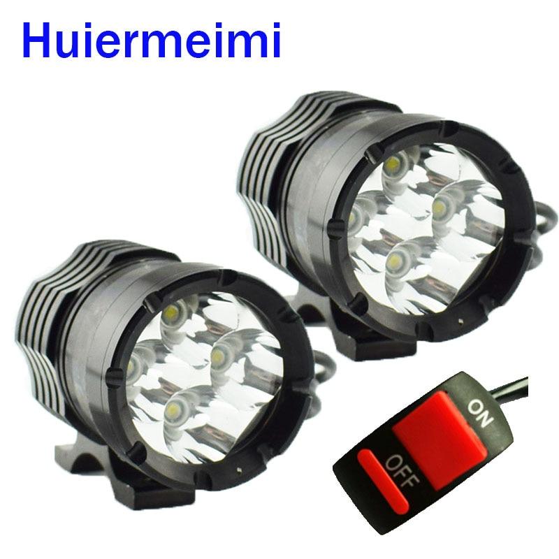 Huiermeimi 1Pair Motorcycle Headlights 12V 24V 40W U2 LED Motorbike Hi Lo Beam Headlamp Moto Spot Head Light Decorative Lamp DRL