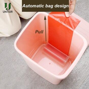 UNTIOR 9L/12L سلة القمامة من البلاستيك الإبداعية التلقائي تغيير كيس النفايات سلة مهملات مزبلة للمطبخ الحمام مكتب علبة مهملات
