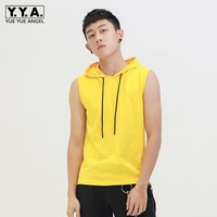 2019 Summer New Mens Cotton Hoodie Tank Top Solid Color Sleeveless Fitness Casual Streetwear Hip Hop Gym Bodybuilding Tank Tops