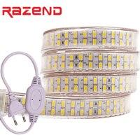 240 светодиодов/m Двухрядные светодиодные полосы света 220 В 110 SMD 5730 Гибкая клейкие ленты 5630 1 м 2 5 10 20 50 100 + мощность ЕС plug/США plug