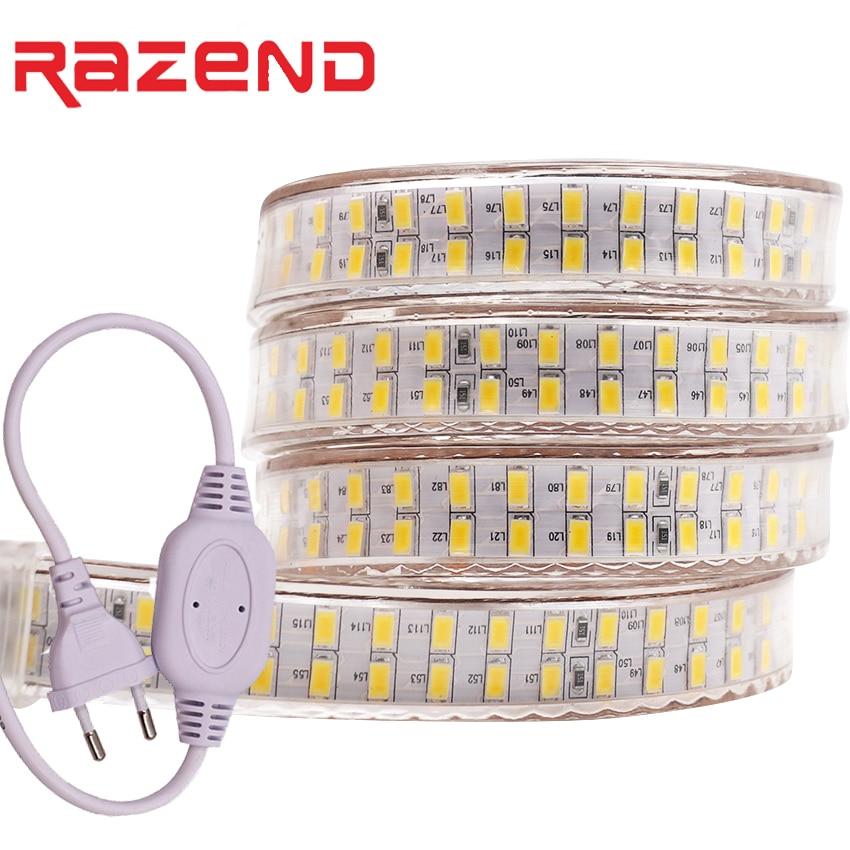 240 leds/m dupla fileira conduziu a luz de tira 220v 110 v smd 5730 fita flexível 5630 1m 2m 5m 10m 20m 50m 100m + power plug ue/eua plug