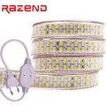 Двухрядная Светодиодная лента 240 светодиодов/м, 220 В, 110 SMD, гибкая лента 5730, 1 м, 2 м, 5 м, 10 м, 20 м, 50 м, 5630 м + штепсельная вилка Европейского/америка...