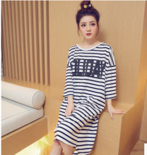 free shipping 2016 hot sell loose lovely Long Spring&Summer style Nightgown For Girl Women O-neck Sleepshirts AW7418