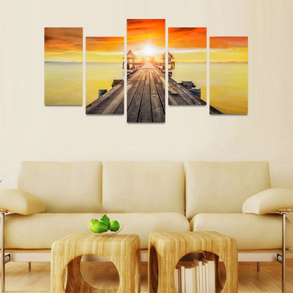 5 Panels Canvas Print Wooden Bridge To Ocean With Sunrise Painting ...