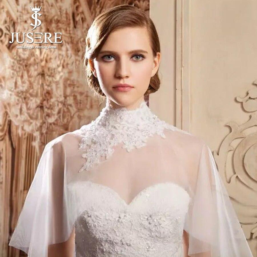 Haut décolleté dentelle décoré mariée boléro Illusion veste élégant Vintage accessoires de mariage 2019