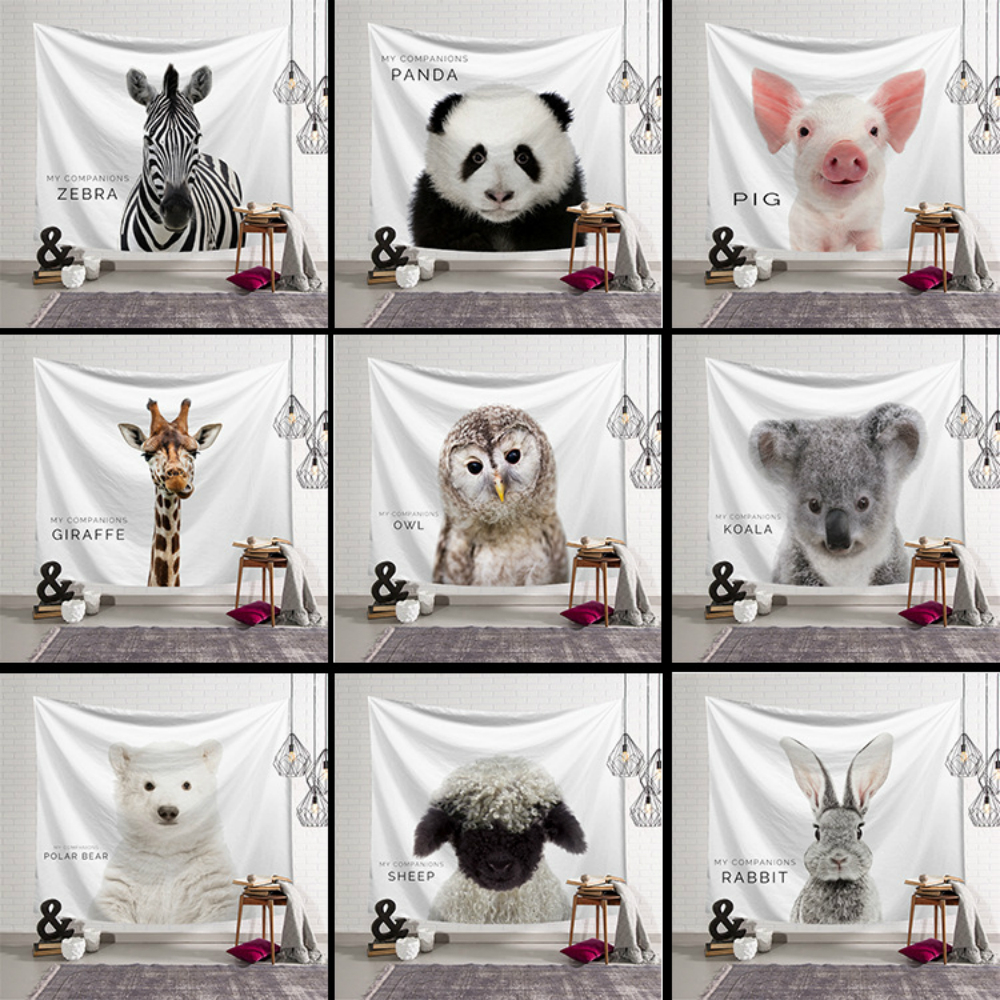 Cute Animals Print Tapestry Wall Hanging Panda Rabbit Elephant Printed Cloth Tapestries Decorative Home Decor