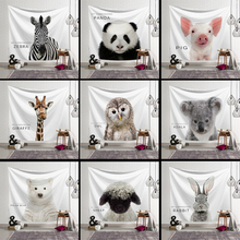 Cute Animals Print Tapestry Wall Hanging Panda Rabbit Elephant Printed Wall Cloth Tapestries Decorative Tapestry Home Decor home decor elephant print wall hanging tapestry
