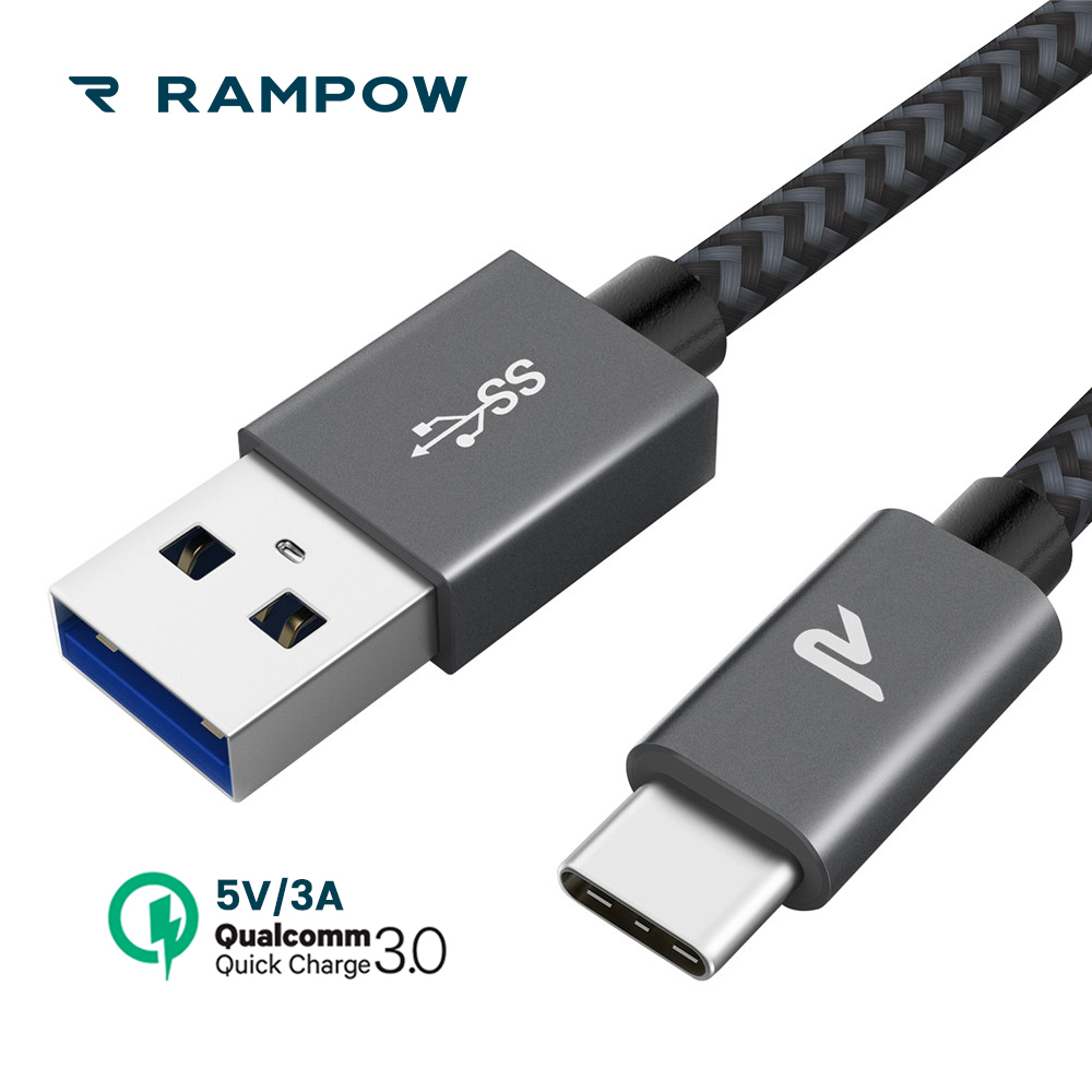Rampow 5V/3A Usb Kind C Cable Usb C Cable 5Gbps Qc3.zero Quick Charging Telephone Charger Cable For Samsung S9 For Xiaomi Mi8/one Plus 6