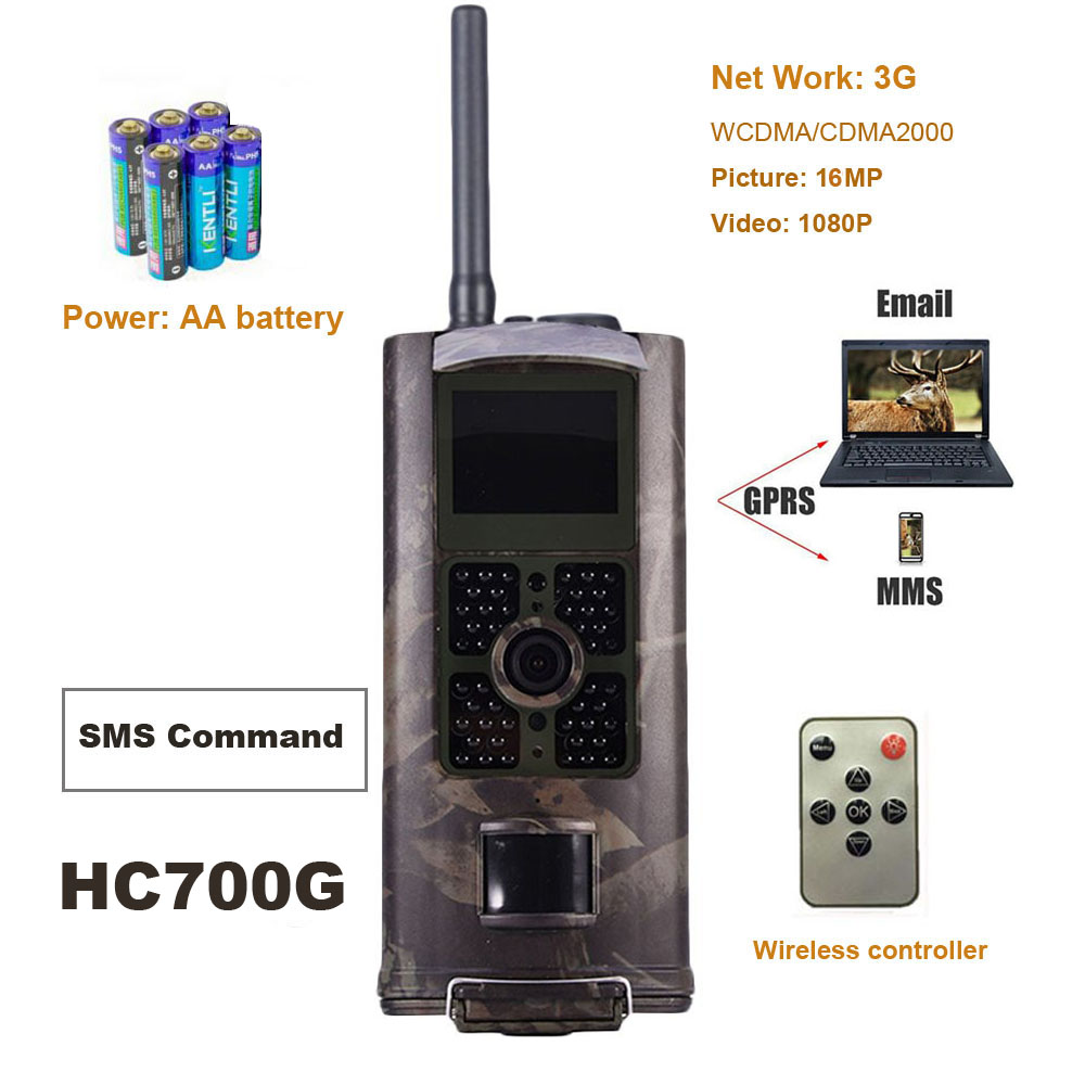 3G Hunting Camera MMS SMTP SMS Wildlife Trail Cameras 1080P HD 16MP Photo Trap HC700G Night Vision Infrared Sensor Deer Camera