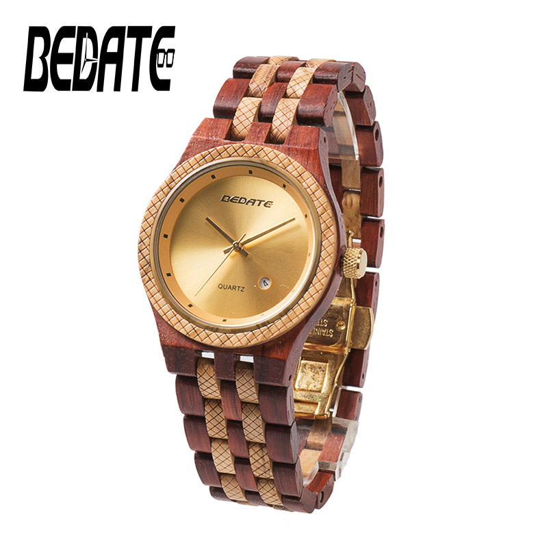 BADATE Wooden Watches With Waterproof Japan Movement Fashion Simple Quartz Wristwatch Classic Folding Clasp For Female Male 142A