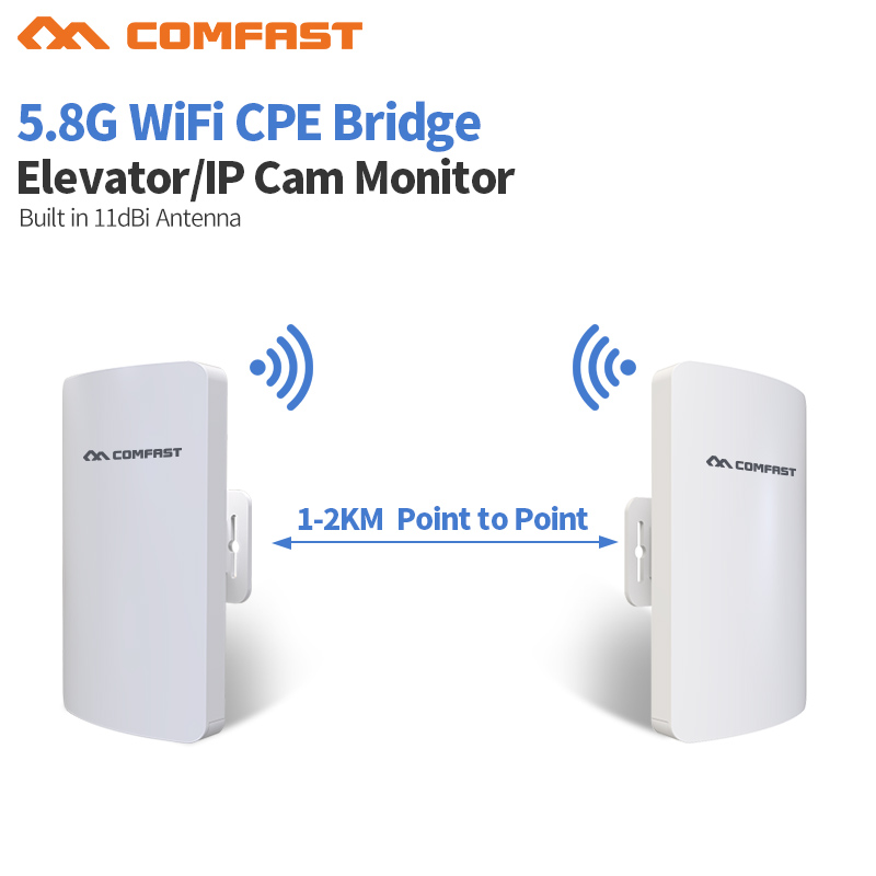 1-2km Comfast Long Range Outdoor WIFI Router Wireless Repeater 300Mbps WiFi booster Amplifier Bridge Point to point CF-E120A comfast original indoor ap wi fi repeater 1200mbps wireless n router 2 4 5 8g wifi repeater bridge long range extender booster