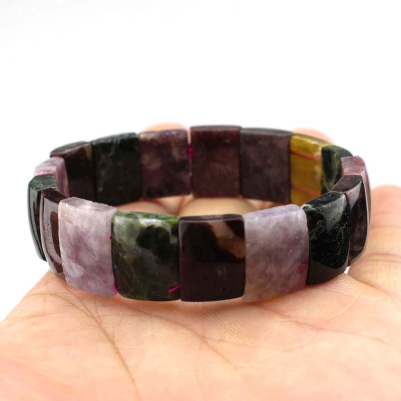 цена natural tourmaline stone beads bracelet natural energy stone bracelet DIY jewelry for woman free shipping wholesale !