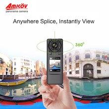 Amkov VR-P360 V360 ручной 4 K WI-FI 360 Камер 15fps двойной 220 HD Широкий формат FishEye объектив для съемки панорамы камеры 360 cam Поддержка VR