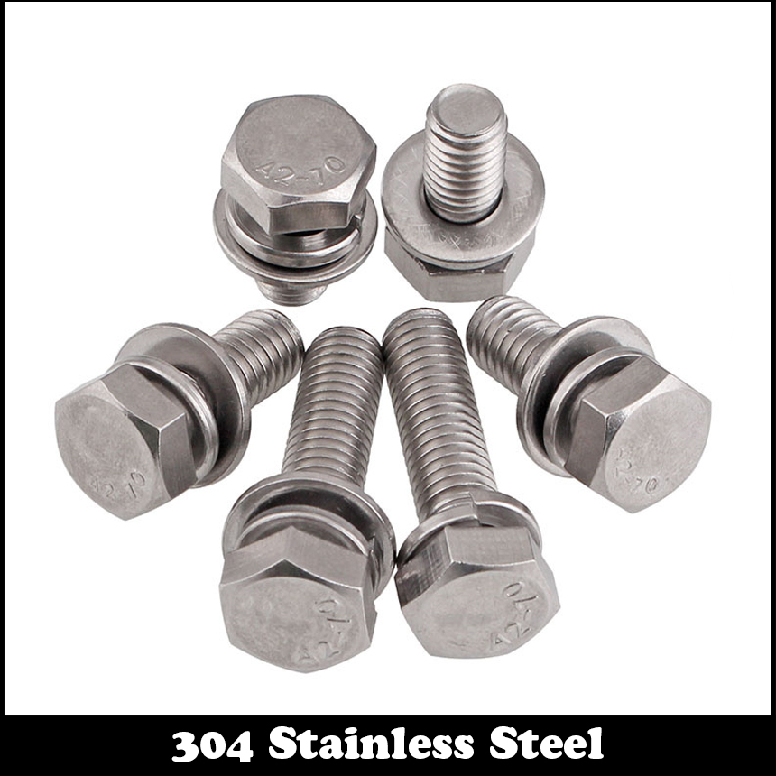 M6 M8 M10 304 Stainless Phillips SEMS Screw Hexagon Bolts With Sping Washer