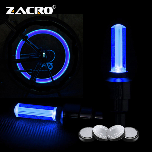 Zacro Bike Light With Battery Tyre Valve Caps Wheel Spokes Led Light Bike Lights Mountain Road Bike Bicycle Lights